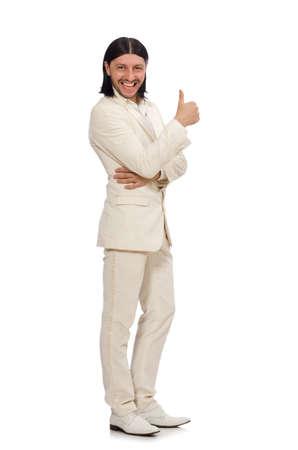 Człowiek w zabawnej koncepcji na białym tle