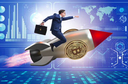 Businessman flying on rocket in bitcoin price rising concept