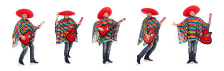 Funny mexican with guitar isolated on white Archivio Fotografico