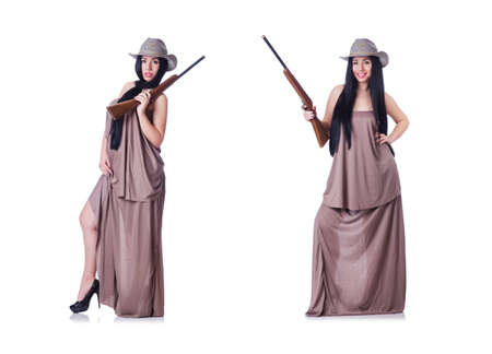Cowgirl with rifle isolated on the white Stock Photo