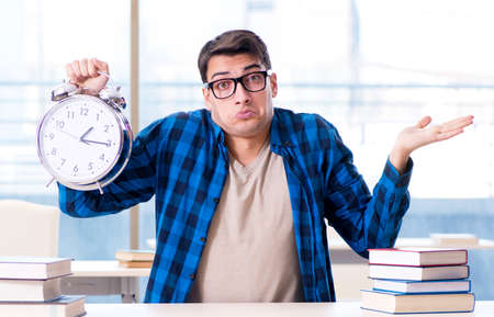 Student running out of time to prepare for exam in college