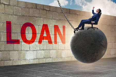 Debt and loan concept with businessman