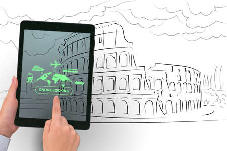Concept of online booking for trip Standard-Bild