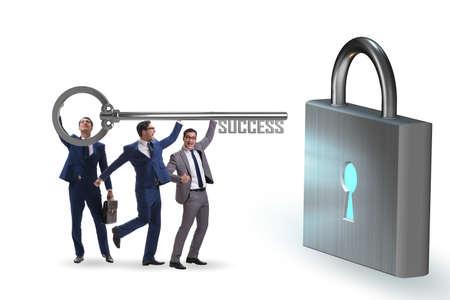 Businessmen achieving success through teamwork 版權商用圖片
