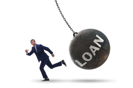 Businessman in debt and loan concept Imagens
