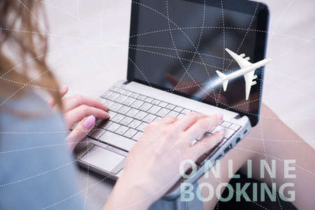 The concept of online air travel booking 免版税图像