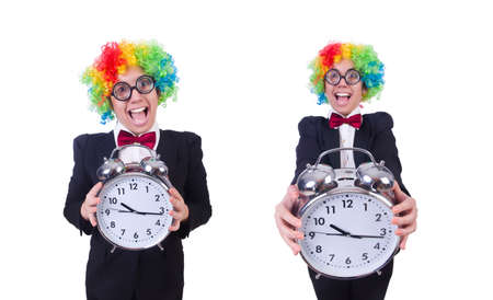 Funny clown with clock on white Stockfoto - 128446761