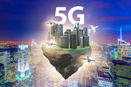 The concept of 5g technology with floating island
