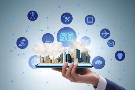 Concepto de tecnología 5G: alta velocidad de Internet