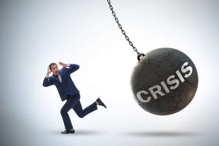 Businessman in crisis management concept Stok Fotoğraf