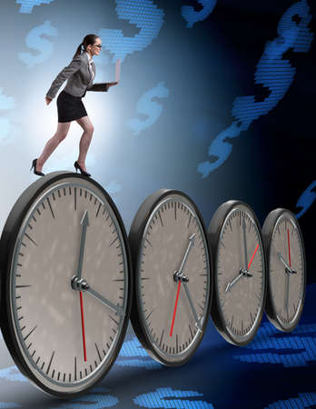 Businesswoman in time management concept Stockfoto - 129160114