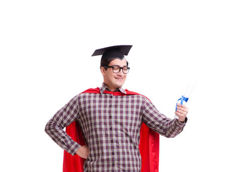 Super hero student graduating wearing mortar board cap isolated Reklamní fotografie