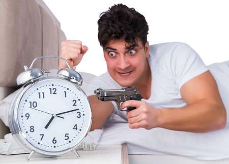 Man in bed suffering from insomnia Stockfoto - 129099279