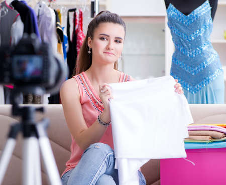 Young woman working as fashion blogger