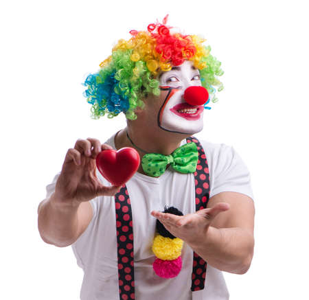 Funny clown with a heart isolated on white background Stock fotó