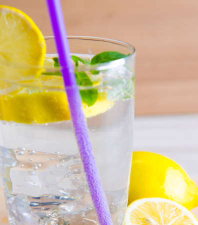 Glasss of mojito with lemon and drinking straw Banco de Imagens
