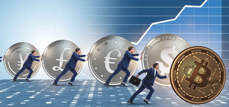 Businessman pushing bitcoin in cryptocurrency concept Imagens
