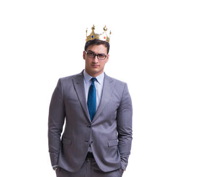 Re imprenditore isolato su sfondo bianco Archivio Fotografico