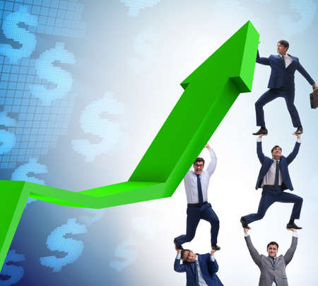 Businessman supporting growth in economy on chart graph 写真素材 - 129277867
