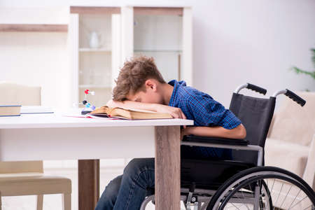 Disabled kid preparing for school at home Banco de Imagens