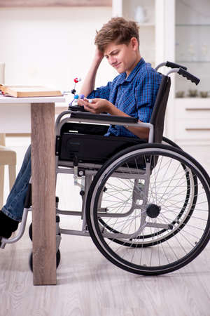 Disabled kid preparing for school at home