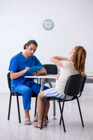 Pregnant woman visiting male doctor gynecologist