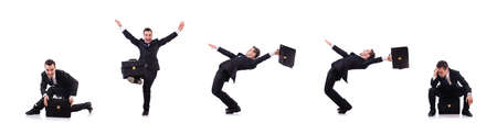 Dancing businessman isolated on the white Stock Photo