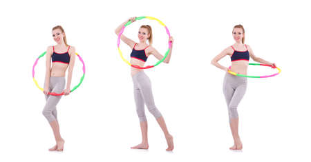 Woman doing exercises with hoop
