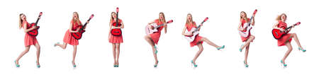 Female guitar player isolated on white Stock Photo - 129691524