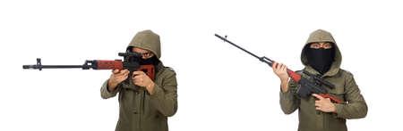 Man with a gun isolated on white Zdjęcie Seryjne