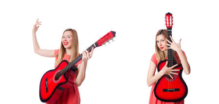 Woman playing guitar isolated on white Stock Photo - 129560902