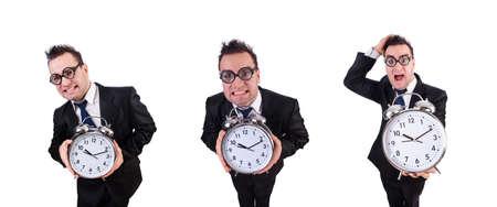 Man with alarm clock isolated on white Zdjęcie Seryjne - 129794050
