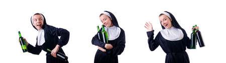 Nun with bottle of red wine Zdjęcie Seryjne