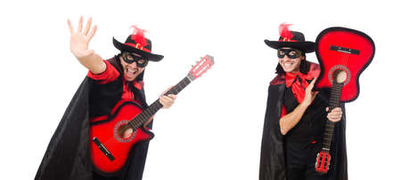 Young man in carnival coat with guitar isolated on white Stockfoto