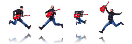 Guitar player isolated on white Stockfoto