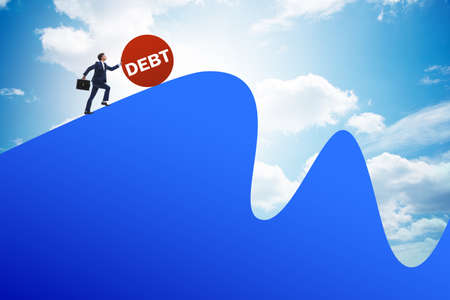 Debt and loan concept with businessman Stok Fotoğraf - 129780058