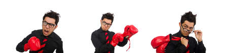 Man businessman with red boxing gloves Stock Photo