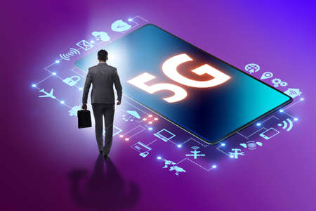 Businessman in 5g high internet speed concept