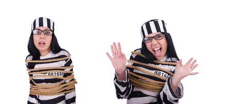 Prisoner in striped uniform on white Zdjęcie Seryjne - 129794952