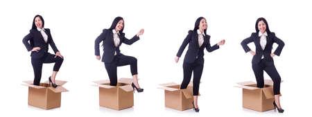 Woman with boxes on white Zdjęcie Seryjne - 129794954