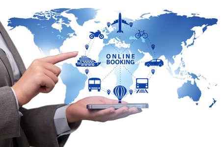 Concept van online boeken voor reis