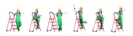 Woman repair worker with ladder Reklamní fotografie