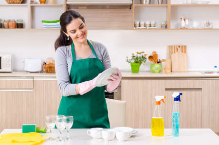 Young female contractor doing housework Banque d'images - 129621296