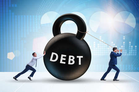 Debt and loan concept with businessman pulling kettlebell