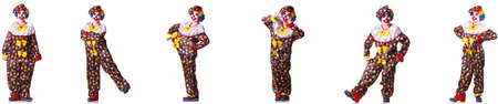 Funny male clown isolated on white Stock Photo