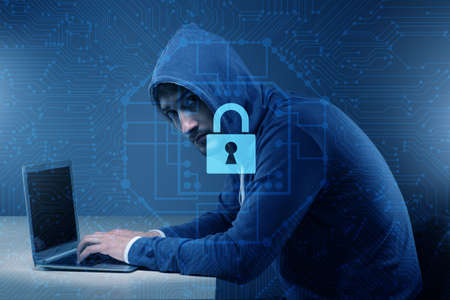 Hacker in digital security concept