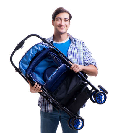 Young dad with baby pram isolated on white Reklamní fotografie