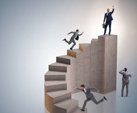 Business concept with business people on staircase