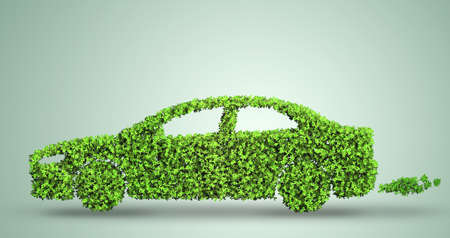 Electric car concept in green environment concept - 3d rendering Imagens