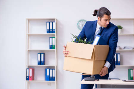 Young employee being made redundant Stock Photo
